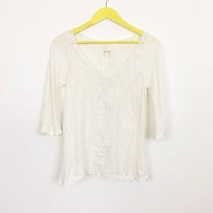 White Anthropologie L/M Meadow Rue Sweet Crochet